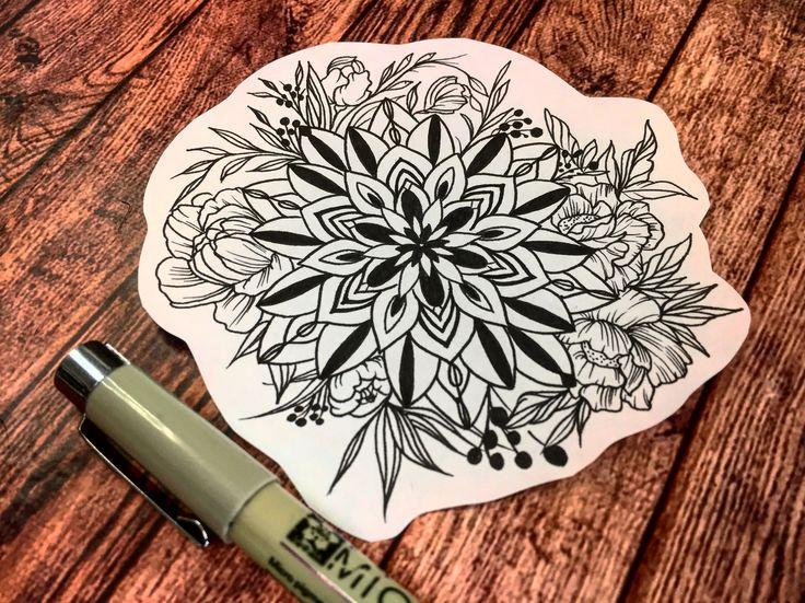 Sketch tattoo mandala flowers  Татуировка мандала эскиз
