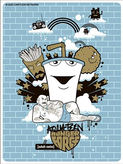 Blue Brick Print - Aqua Teen Hunger Force
