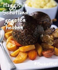 Bucketlist item van - Diderica:  Het typische Schotse gerecht #haggis wordt traditioneel geserveerd tijdens het 'Burns Supper'. Een diner dat op 25 januari gehouden wordt ter viering van de verjaardag van de Schotse nationale dichter Robert Burns, die ooit een gedicht over haggis schreef. Het gerecht is een schapenmaag gevuld met stukjes hart, long, lever, niervet en havermout. #Schotland
