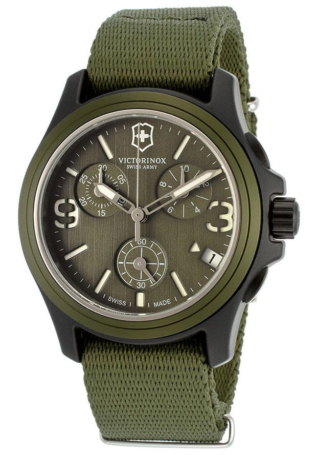 Swiss Army 241531 Watches,Men's Chronograph Military Green Dial Military Green Nylon, Men's Swiss Army Quartz Watches