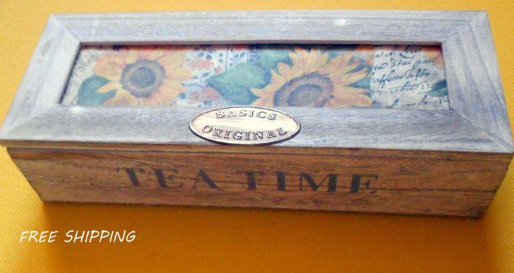 wooden decoupage tea box wood flowers tea box tea bags storage tea bag box free shipping kitchen gifts decoupage sunflowers 24.00 USD #goriani