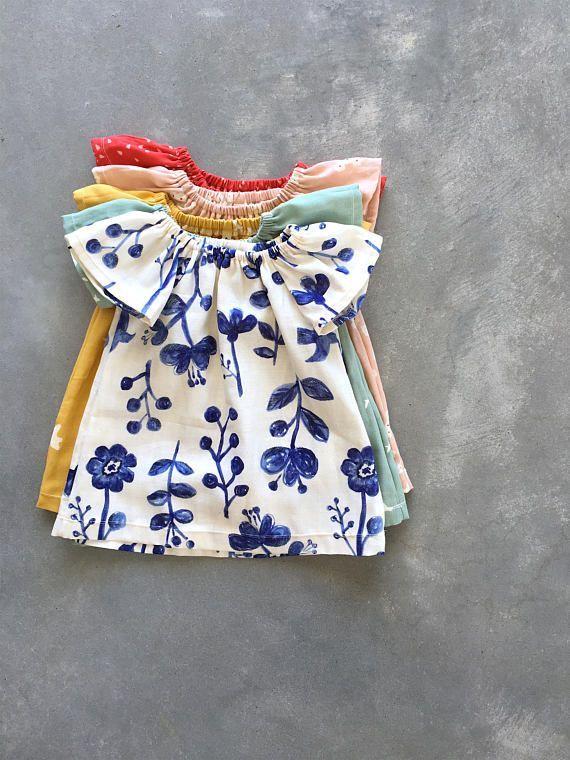 Baby dress, girls dresses, organic double gauze dress, toddler girl dress, blue floral dress, baby summer clothes, navy natural NB – 3