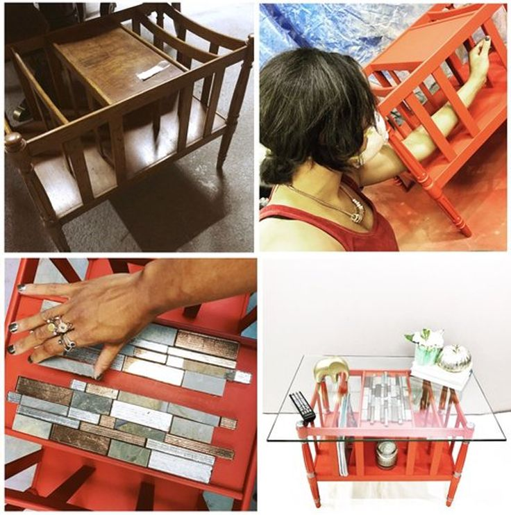 Contemporary side table gets new life with tiles and red hot paint job