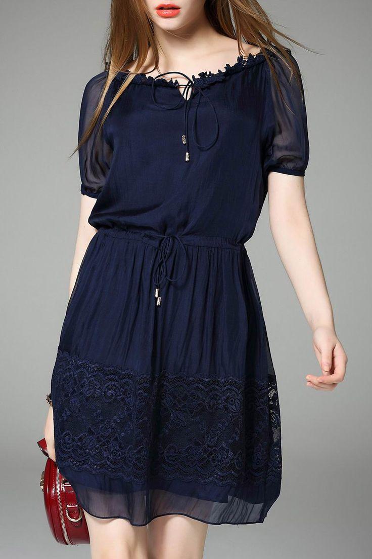 Hanyear Purplish Blue A Line Pleated Dress | Mini Dresses at DEZZAL