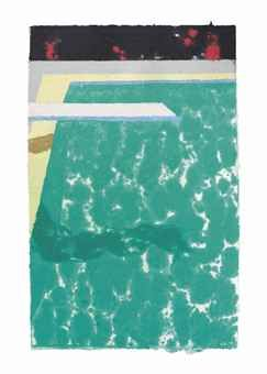 David Hockney (b. 1937)   Green Pool with Diving Board and Shadow   signed with the artist's initials and dated 'D.H. 78' (lower right); signed 'David Hockney' (on the reverse)  coloured and pressed paper pulp   50¼ x 32¾in. (127.6 x 82.2cm.)   Excecuted in 1978