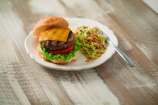 Perfectly Simple Burgers Recipe │The best homemade cheeseburgers. A classic hamburger topped with cheese, tomato and lettuce.