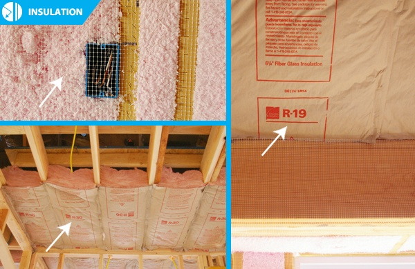 R15 insulation (blown-in) in wall cavities, R19 insulation (batt) on slopes, and R30 insulation (batt/blown-in) in attic meet or exceed national code requirements.