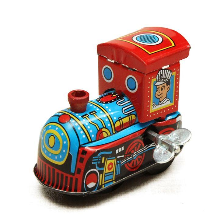 Retro kereta uap kenangan anak antik angin sampai mainan kaleng, Jarum jam musim semi lokomotif mainan klasik untuk anak-anak anak-anak bayi