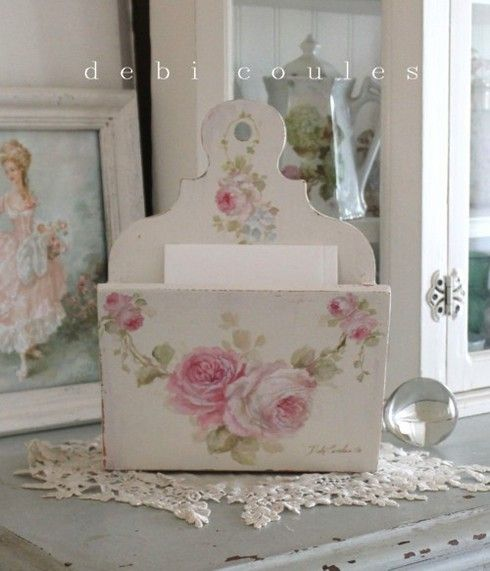The sweetest hand painted vintage style letter holder is now available at www.debicoules.com