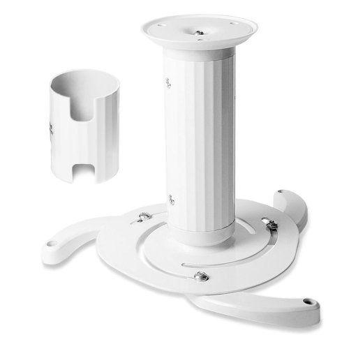 Universal Beamerhalterung in weiss | Aluminium Deckenhalterung Beamer Projektor Halter | Deckenhalter Befestigung Halterung Projektorhalterung Montage | schwenkbar rotierbar 360 Grad | bis 10kg