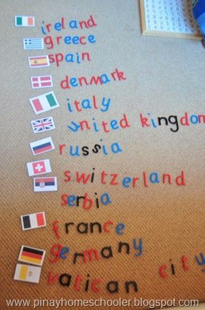 *use the moveable alphabet with country flags for geography extension