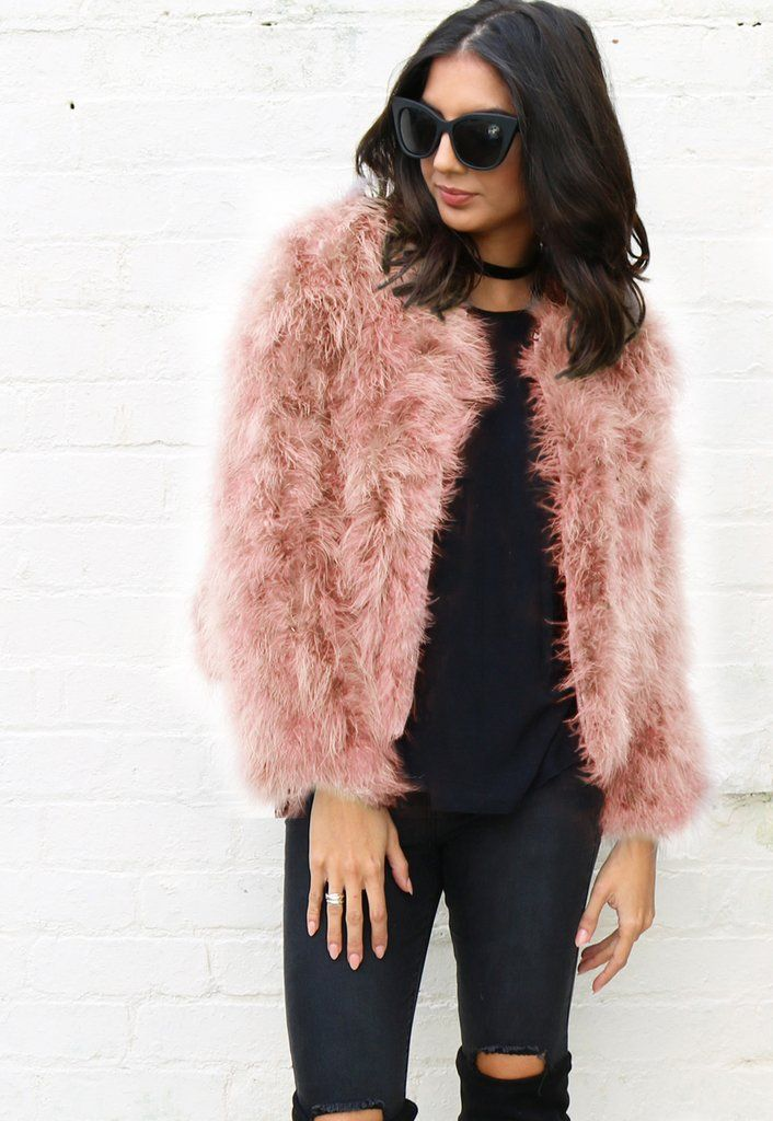 88ed0a7c55e Fluffy Ostrich Feather Marabou Fur Jacket in Dusty Light Pink in ...