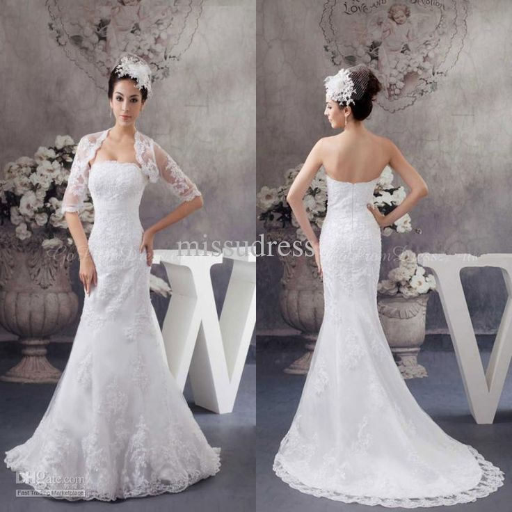 White Strapless Lace Appliques With Matching Bolero Jacket Mermaid Wedding Dress Fashion Bridal Gown Organza Mermaid Wedding Dress Organza Mermaid Wedding Dresses From Missudress, $156.65| Dhgate.Com