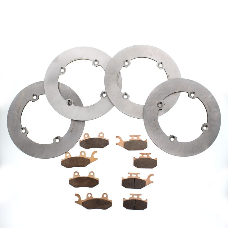 2013 Can-Am Maverick XRS 1000 Front and Rear MudRat Brake Discs & Brake Pads, Silver stainless steel