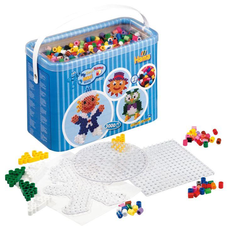 Hama Strijkkralen Maxi, 3000 stuks. Hier kan je héél veel leuke dingen mee maken. Geschikt voor kindjes vanaf 3 jaar. Te vinden bij Sassefras Meisjes Speelgoed voor écht peuter en kleuter speelgoed.