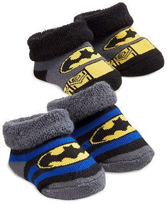 ABG Accessories Baby Socks, Baby Boys Batman And Superman 2-Pack Booties @ Macy's