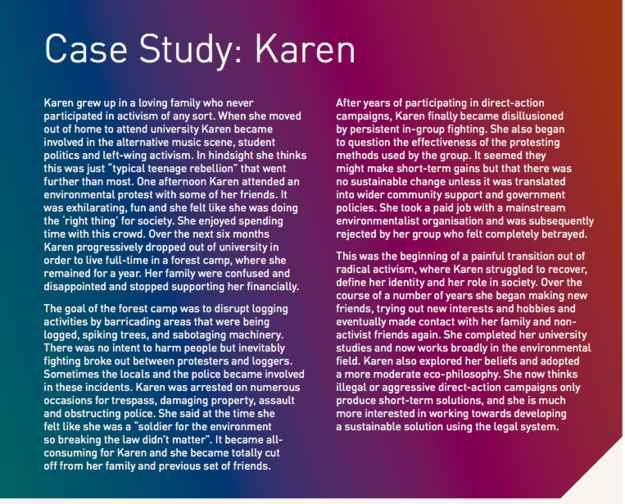 "But people have noticed one case study in particular that's under the ""violent extremism"" heading - the story of ""Karen"", an environmental activist who radicalised after listening to alternative music."