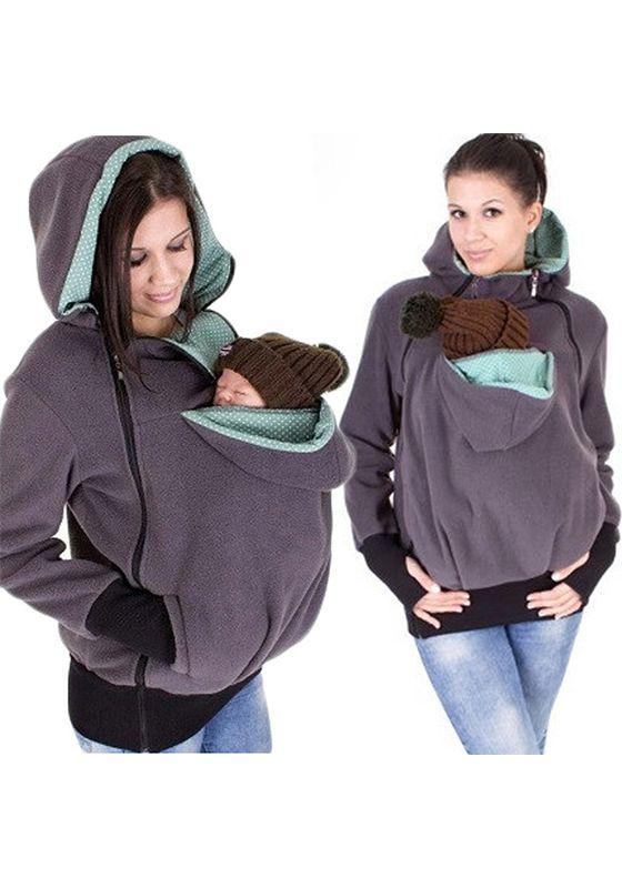 54e6b9a18405c Purple Plain Multi-functional Zipper Kangaroo Baby Bags Hooded Cardigan  Sweatshirt