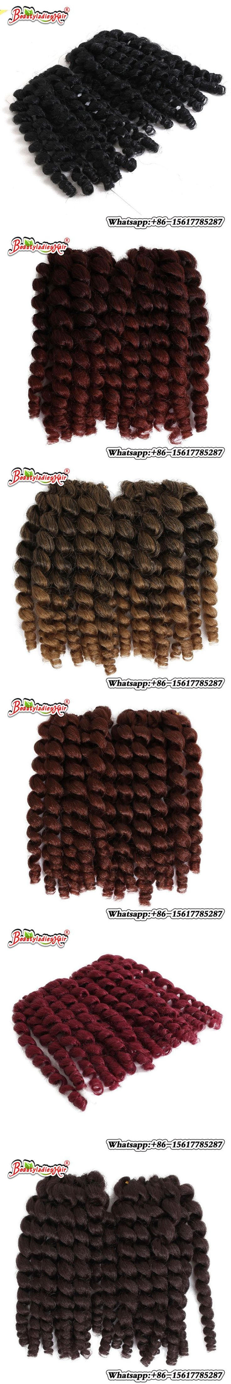 "Wand Curl Crochet hair extensions Ombre Twist Braiding Jamaican Bounce hair Synthetic hair Extension 8"" 22 Roots 1 pack"