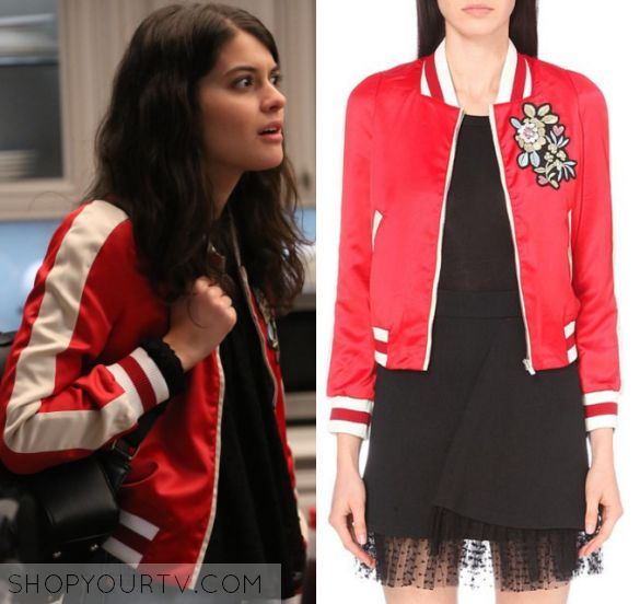 """The Mick 1x15 - Sabrina Pemberton (Sofia Black D'Elia) wears this red embroidered floral varsity striped bomber jacket in this episode of The Mick, """"The Sleepover"""". It is the Maje Bob Embroidered Bomber Jacket."""