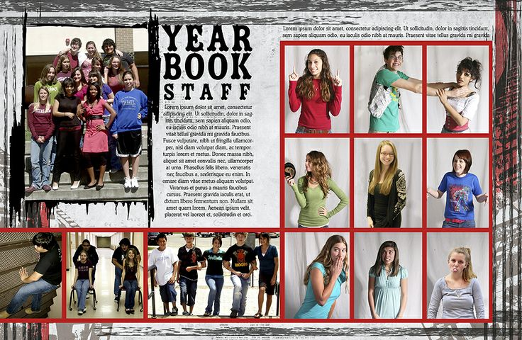 A yearbook staff page