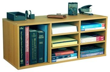Desktop Supply Organizer in Oak Finish w 6 Ad contemporary-desk-accessories