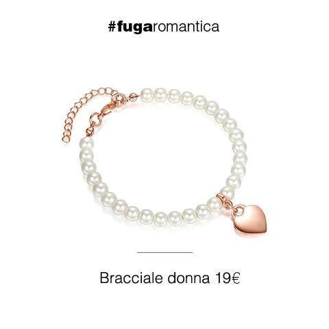 Bracciale in perle sintetiche bianche e cuore con bagno in oro rosa Luca Barra Gioielli. #braccialedonna #lucabarra #newcollection #consiglidistile