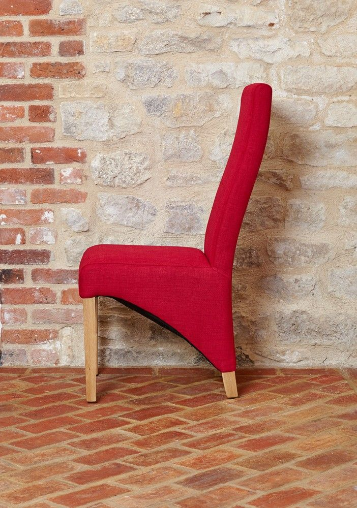 Baumhaus Full Back Upholstered Dining Chair Red Fabric Pack Of Two A Set Chic Contemporary Chairs In R