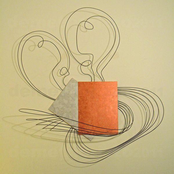 Wire sculpture by Demetrio Rizzo: L'abbraccio - 2012 - wire & canvas - Size: 100x115x40cm