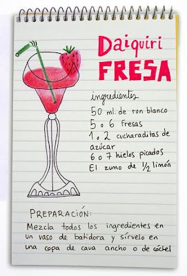 Daiquiri de fresa: ron, fresas y limón.  #strawberry