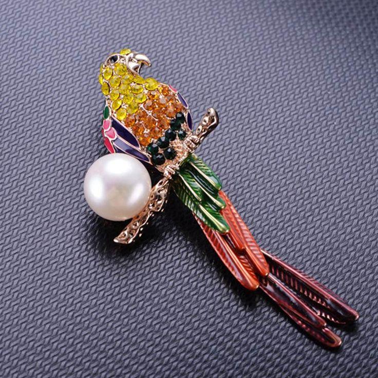 Aitunan Винтаж Эмаль Глазурь попугай Броши реальный естественный пресноводный жемчуг Товары для птиц брошь модные Цвет горный хрусталь брошь подарки