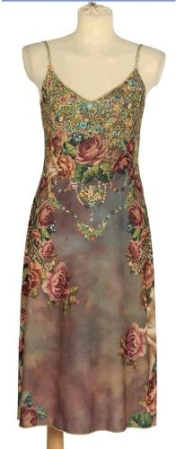 Buy New: $832.00  - Michal Negrin Enchanting Dress Crafted with Rich Victorian Inspired Print Accented with Swarovski Crystals on Bodice and Gradient Print on Hem