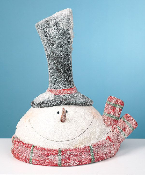 Look at this Snow Flocked Snowman Head Figurine on #zulily today!