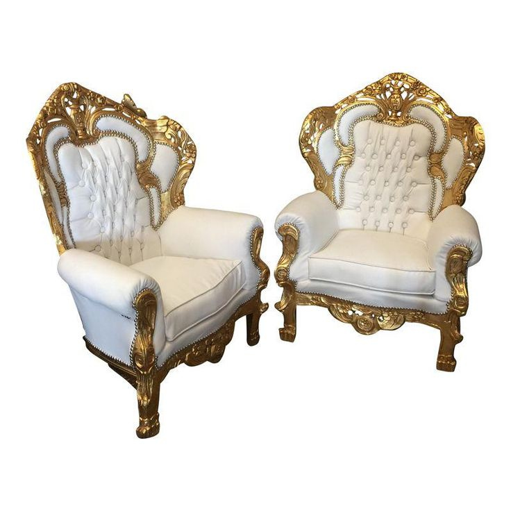 White Leather Tufted Throne Chairs A Pair In 2019