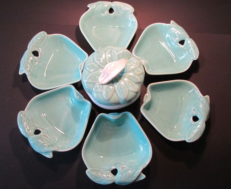 Vintage CALIFORNIA POTTERY Aqua Party Snack Set 6 Apple Shaped Dishes+Bowl w/Lid