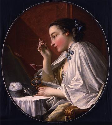 François Boucher's painting Une Dame à sa Toilette shows a woman applying a mouche.