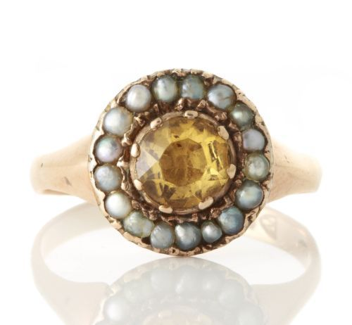Antique-Georgian-9ct-Gold-Citrine-Seed-Pearl-Ring-051617135