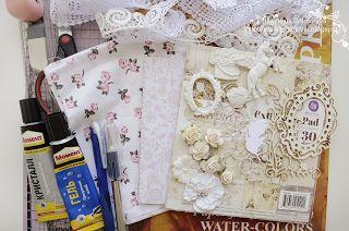 Пошаговый МК по созданию открытки из ткани в стиле Shabby chic.