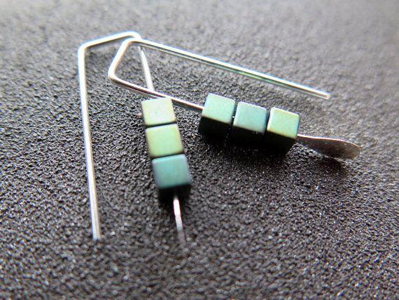small earrings. green jewelry. geometric jewellery. by Splurge  **elegant geometry  #geometricearrings  #jewellery  #calgary