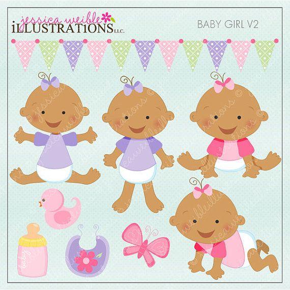 Baby Girl V2  Dark Skin  Cute Digital Clipart by JWIllustrations