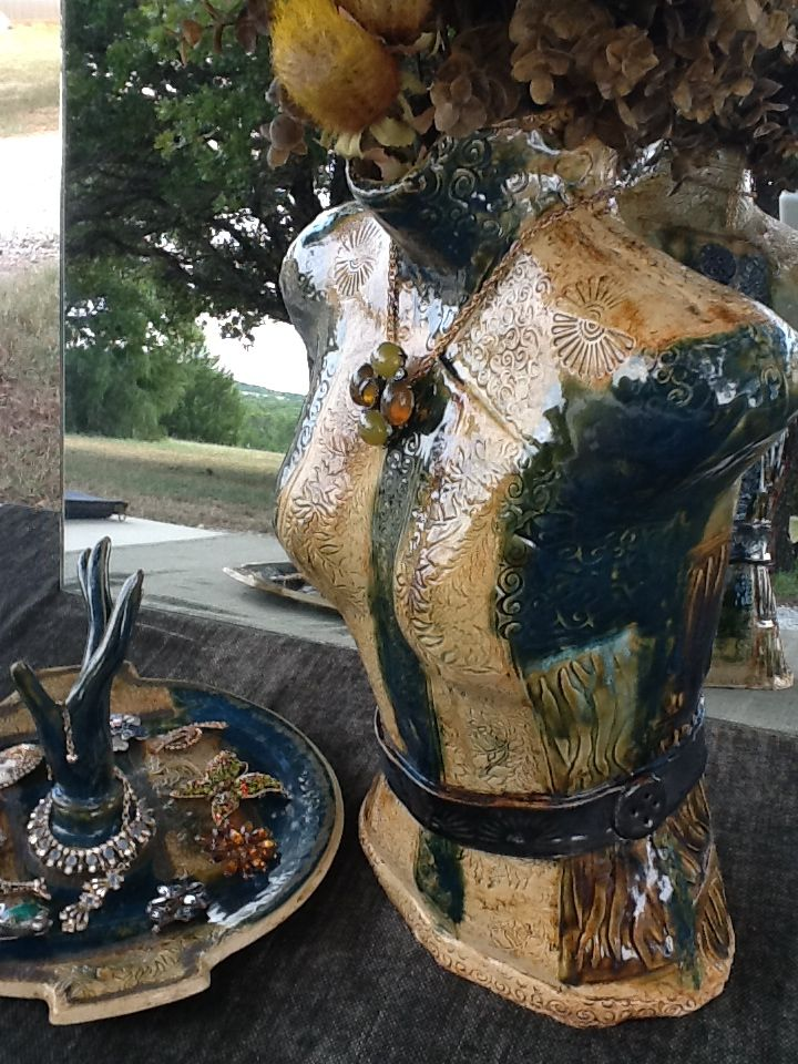 Slab pottery, Jewelry Tray & Torso Vase (Sold)