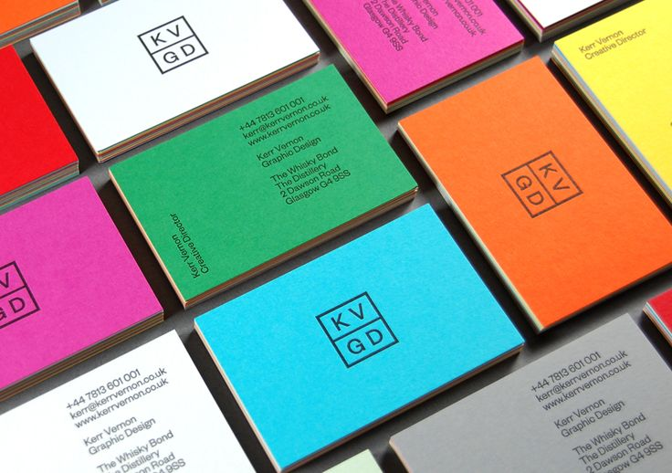 Logo, duplex colorplan and letterpress business cards designed by Kerr Vernon for KVGD
