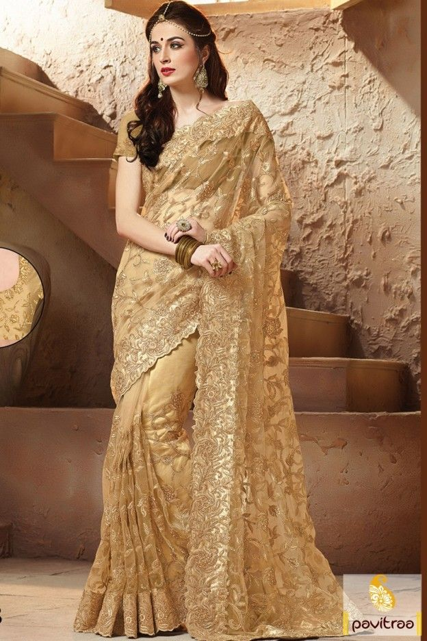 Select Most Gorgeous Georgette Fabric Chikoo Color Heavy Stone Work Bridal Saree For Wedding Day