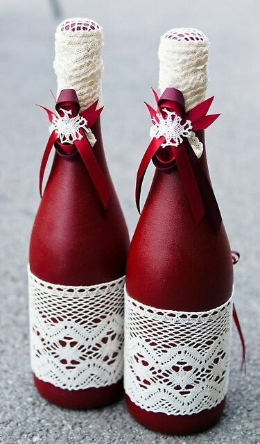 Wine colored bottles and lace