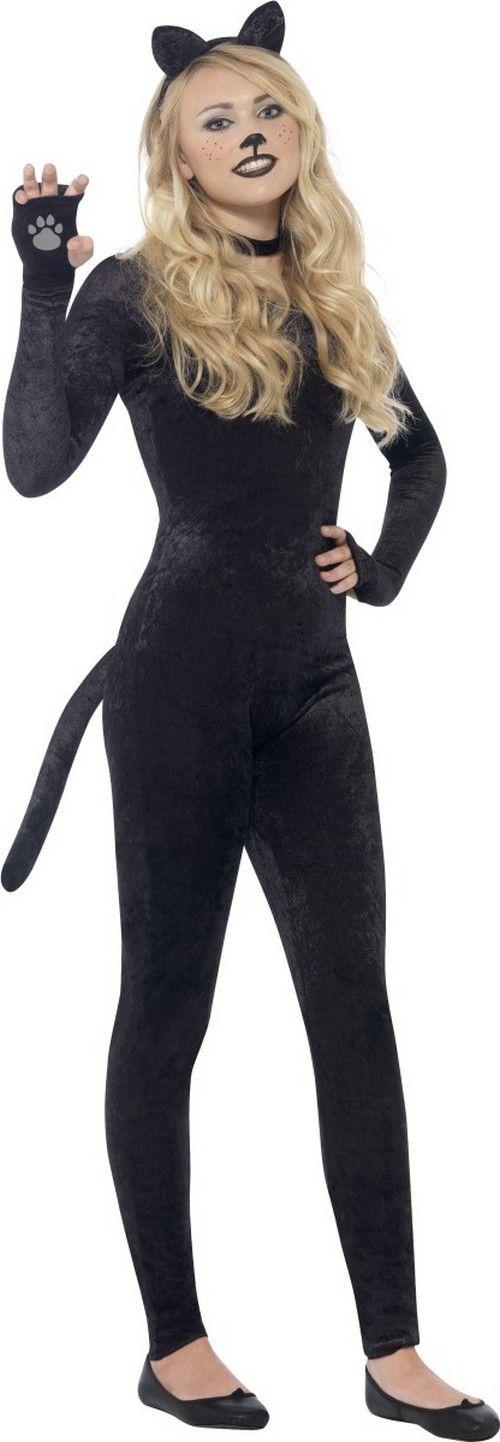 Travestimento completo tuta da gatta per adolescente: Questo costume da gatta per adolescente e' composto da una tuta, una coda, un cerchietto con orecchie e una collana girocollo (scarpe non incluse).La tuta nera che imita il velluto si...