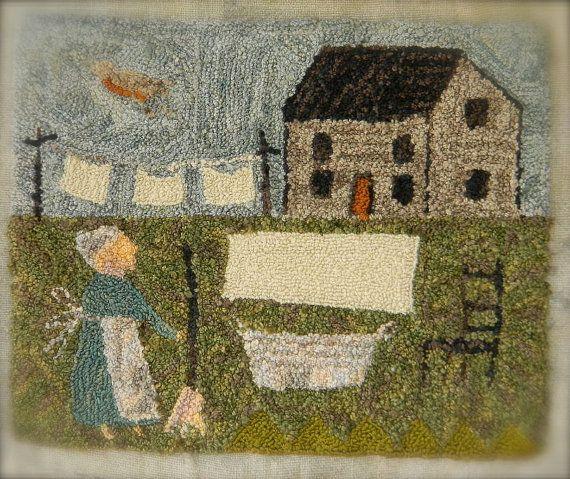 Giorno di bucato - punzone dell'ago cartamodello - 1 di 4 in serie - da Notforgotten Farm