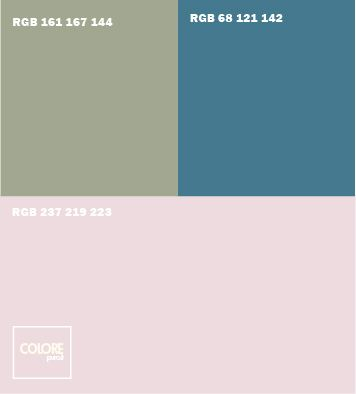 Abbinamento colori rosa chiaro  verde salvia  blu azzurro freddo