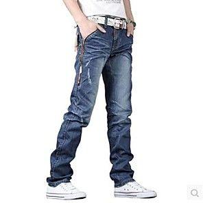 pantalones vaqueros largos de lavado ácido rectas ocasionales de los hombres (diseño desgastado al azar)