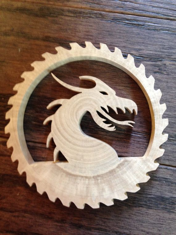 Hand Crafted  Reclaimed  Tree Slice  Dragon  by RidersWoodWorks