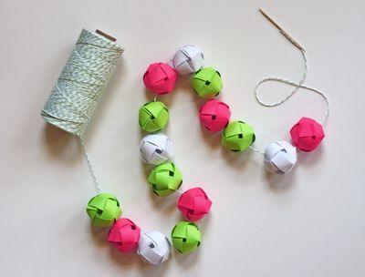 paper ball garland- pretty but a lot of work!: Paper Craft, Paper Balls, Garlands, Woven Paper, Diy